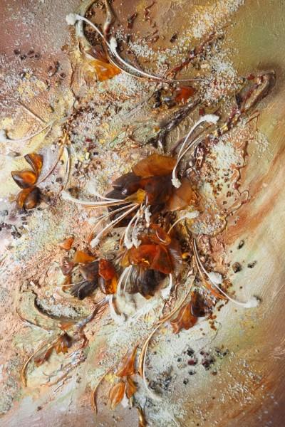 Панно «Танец соблазна». 2016  Автор Елена Тихомирова  Янтарь, металл, косточки рыб, соль  60х45 см